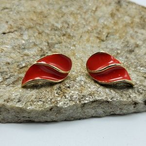 Vintage Red & Gold Earrings Stud Tear Drop Enamel